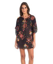 Luxury black kaftan with colourful motifs - NEW JU CAFTAN FOLK