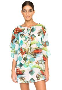 Luxurybeach kaftan with plant pattern - NEW JU TAORMINA