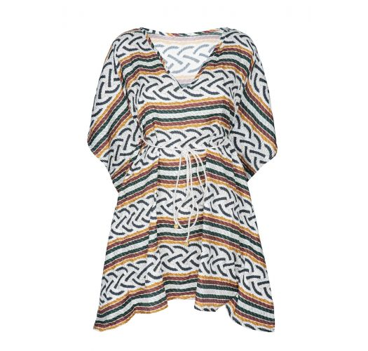 Beach cover-up with batwing sleeves, rope print - CAFTAN CORDA