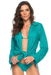 Blue tied beach shirt - long sleeve - CHEMISE BAHAMAS