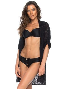 Black beach long sleeve shirt with openwork - CHEMISE BOLSO