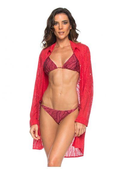 Dark pink beach long sleeve shirt with openwork - CHEMISE FLAMINGO