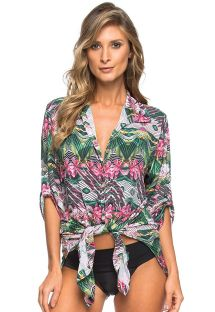 Floral print shirt dress to tie - CHEMISE NATIVE