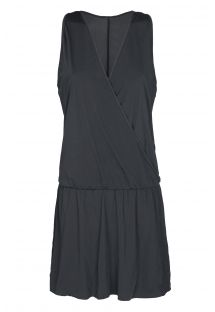 Black cross-over beach dress - ENVELOPE PRETO