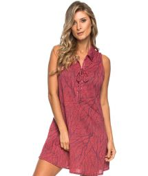 Pink printed sleeveless dress with lace-up neckline - GOLA SEA FAN