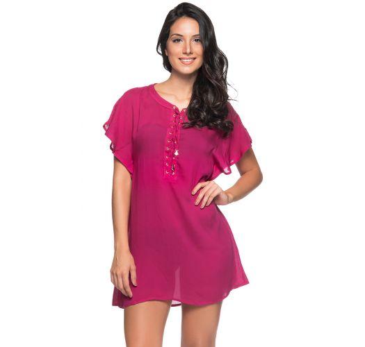 שמלה לחוף הים צבע וורוד פטל עם מחשוף ושרוכי קשירה - ILHOS CLOCHE