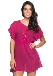 Лёгкое пляжное платье малиново-розового цвета с зашнурованным декольте - ILHOS CLOCHE