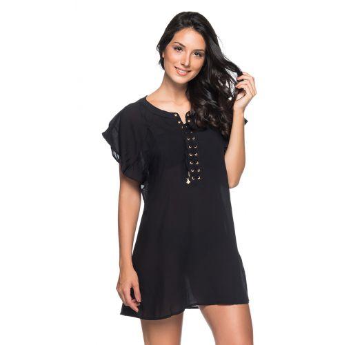Black light beach dress with laced neckline - ILHOS PRETO