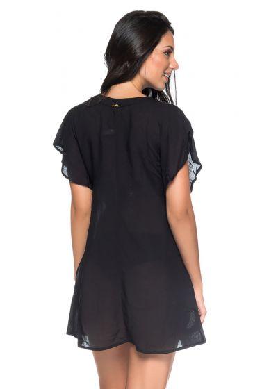 Лёгкое пляжное платье чёрного цвета с зашнурованным декольте - ILHOS PRETO