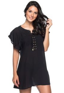 Black light beach dress with laced neckline - ILHOS PRETO