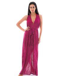 Long burgundy beach dress with openworks - LONGO FAIXA BURGUNDY