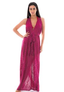 Long burgundy beach dress with openworks - LONGO FAIXA BURGUNDY