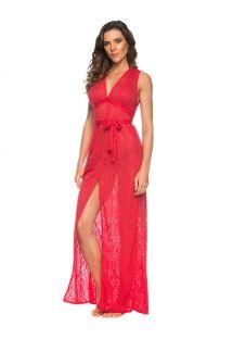 Длинное ажурное пляжное платье ярко-красного цвета с разрезом - LONGO FAIXA FLAMINGO