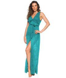 Long blue beach dress with openwork - LONGO FAIXA HABANAS