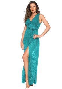 Long blue beach dress with openwork - LONGO FAIXA HABANAS