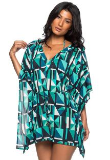 Green graphic caftan type dress - ROLOTE ESSENCE