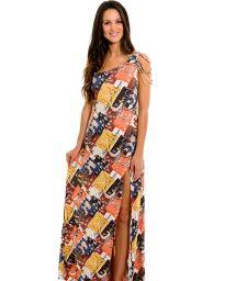 Long one-shoulder dress, ethnic style - SAIDA ETHIOPIA