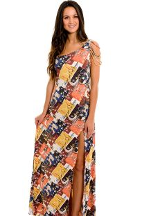 Long one-shoulder dress, ethnic style - SAIDA ETHIOPIA