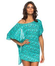 Backlessblue patterned beach tunic - TUNICA AQUA
