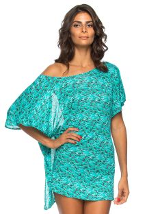 Backless blue patterned beach tunic - TUNICA AQUA