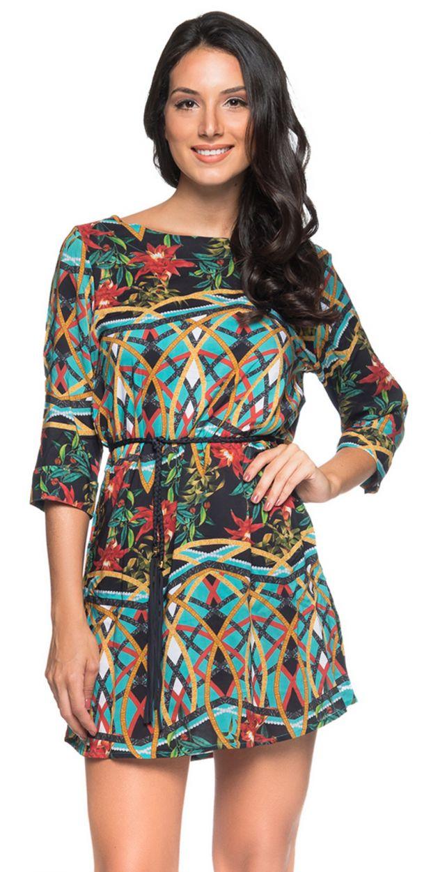 Colorful beach dress with a waist tie - TUNICA CINTO MOSAIC