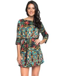 Colorful beach dress with a waist tie - TUNICA CINTO MOSAIC