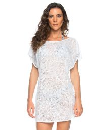 White openwork beach cover-up plunging back neckline - TUNICA DECOTE BRANCO