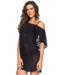 Black openwork beach dress with bare shoulders - TUNICA DECOTE PRETO