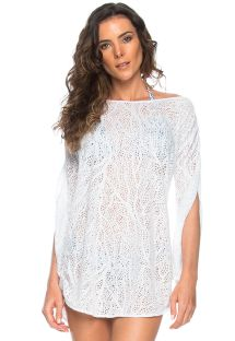 White long sleeves openwork beach cover-up - TUNICA FENDA