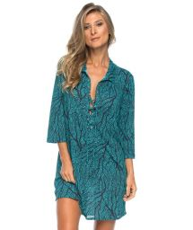 3/4 sleeve tunic with blue coral print - TUNICA GOLA SEA