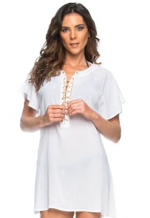 White beach dress with cord lace-up neckline - TUNICA ILHOS BRANCO