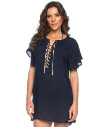 Navy blue beach dress with lace-up neckline - TUNICA ILHOS OCEANO