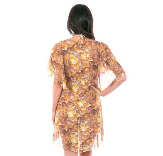 Robe de plage fluide dorée marron motif coquillage - TUNICA MEDITERRANEO