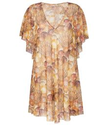 Fluid beach cover-up, golden brown shell pattern - TUNICA MEDITERRANEO