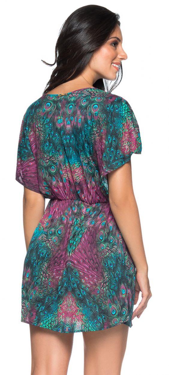 Påfågelstryckt strandklänning - TUNICA VOLERY