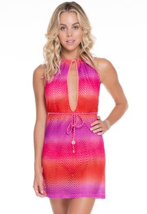 Pink tie-dye keyhole beach dress - ANGEL