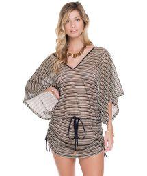 Black/gold mesh kaftan beach robe - AREIA
