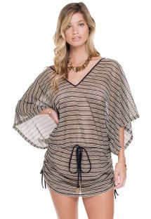 Black/gold mesh kaftan beach robe - AREIA