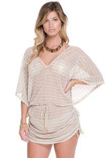 Vestido de playa de punto calado blanco/dorado - ATACAMA