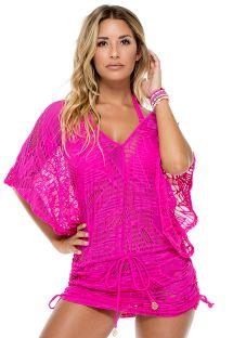 Pink lacy beach kaftan - CABANA CARNAVAL FUCHSIA