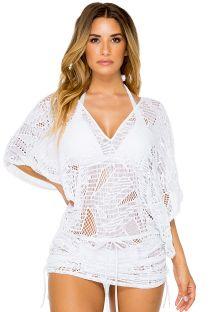 Vestido de playa con laterales ajustables calado - CABANA CARNAVAL WHITE