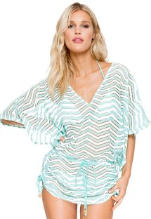 Beach kaftan pale green/white crochet style - CABANA MALECON GREEN