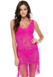 Pink openwork beach cover-up with fringing - CARNAVAL FLIRTY FUCHSIA