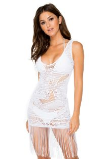 Vit fransad strandklänning med spets - CARNAVAL FLIRTY WHITE