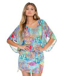 Multicoloured beach cover-up with kimono sleeves - CAYO BEACH DRESS