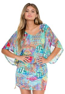 Multicoloured beach cover-up with kimono sleeves - CAYO BEACH DRESS