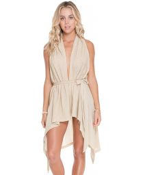 Hooded gold beach dress which can be worn with a belt - GOLD