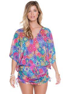 Sukienka plażowa typu kaftan,wielokolorowe mandale - HIDROCORAL