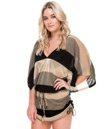 Short beach cover-up with wide black/gold stripes - WARRIOR STRAPES BLACK