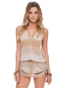 Beige/gold glitter mini dress, racer back - WARRIOR TUNIC WHITE